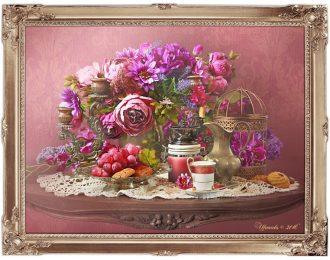 Натюрморт «Кофе и лиловый букет»