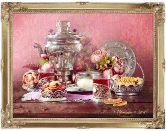 Натюрморт «У самовара. Малиновый чай»