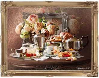 Натюрморт «Кофе с пионами»