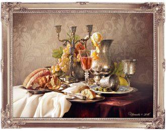 Натюрморт в голландском стиле «Серебряная посуда, вино и ветчина»